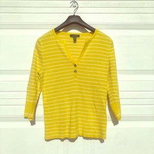 Yellow & White Stripped 3/4 Sleeve Fitted Sweater
